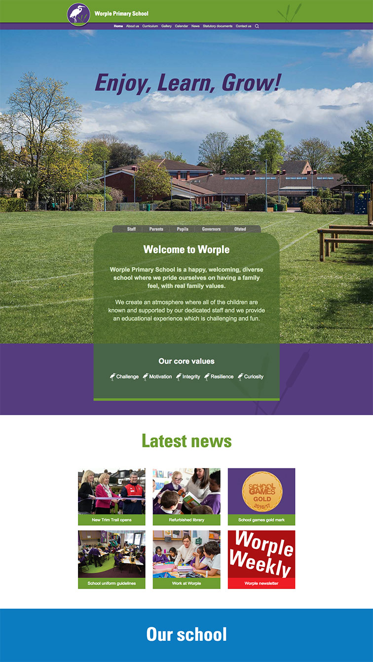 worple primary school hounslow website design